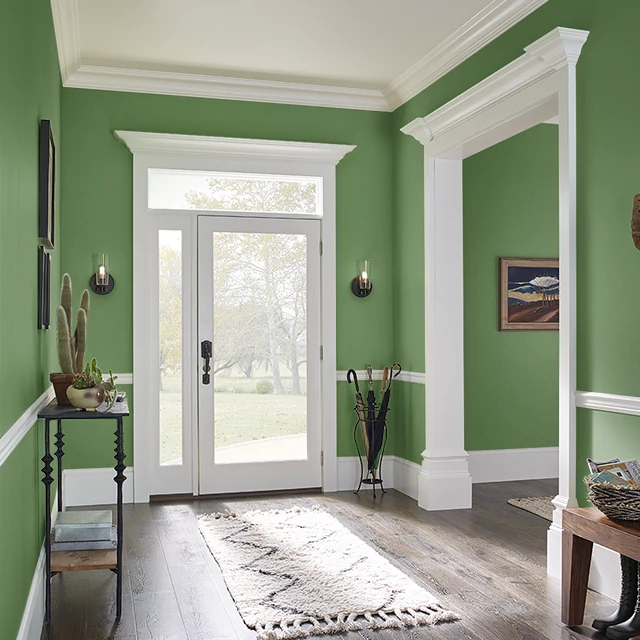 Foyer painted in DEEP MOSS