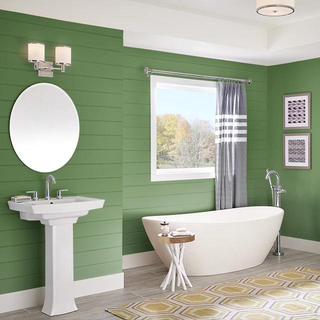 Bathroom painted in DEEP MOSS